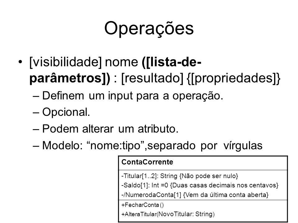 Operações [visibilidade] nome ([lista-de-parâmetros]) : [resultado] {[propriedades]} Definem um input para a operação.